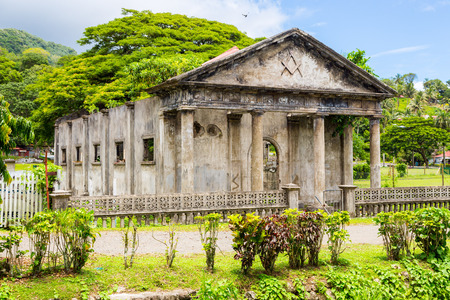Stone shell of the South Pacific's first Masonic lodge (east. 1875). Levuka town, Ovalau island, Lomaiviti archipelago, Fiji, Melanesia, Oceania, South Pacific Ocean. Temple