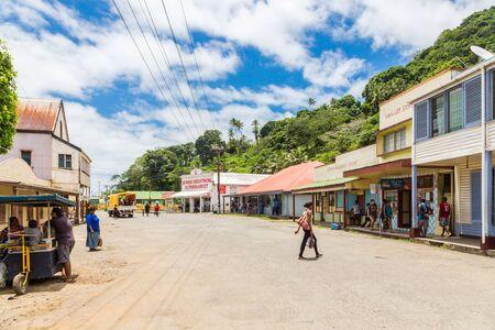 Levuka, Fiji - Jan 9 2015: Colourful vibrant street of old colonial capital of Fiji - Levuka town, Ovalau island, Lomaiviti archipelago, Fiji, Melanesia, Oceania, South Pacific Ocean. UNESCO heritage. Editoriali