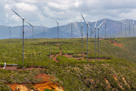 Wind farm near Oundjo, Northern Province, New Caledonia, Melanesia, Oceania, South Pacific Ocean. Wind power plant. Wind turbines