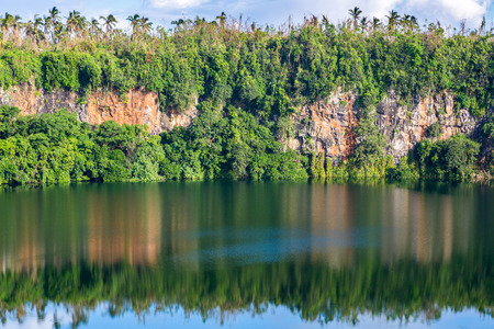 Spectacular volcanic crater lake Lalolalo in the island of Uvea (Wallis), Wallis and Futuna (Wallis-et-Futuna), Polynesia, Oceania, South Pacific Ocean. French overseas island collectivity Stock fotó