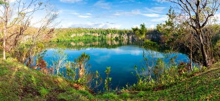 Spectacular volcanic crater lake Lalolalo in the island of Uvea (Wallis), Wallis and Futuna (Wallis-et-Futuna), Polynesia, Oceania, South Pacific Ocean. French overseas island collectivity