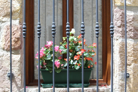beautiful flowery balcony very original and colorful Archivio Fotografico