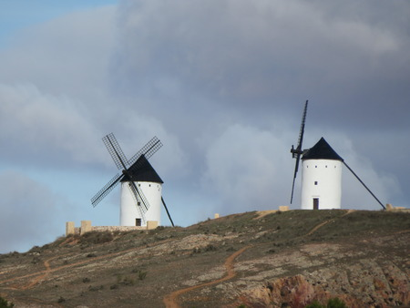 Beautiful windmills very old and that describe a very Spanish landscape