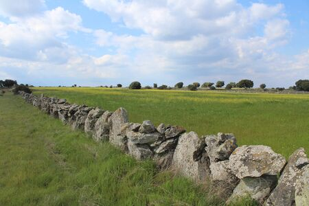 Beautiful stone wall that separates the fields and animals Stock fotó