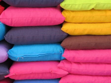 Beautiful cushions of different colors very good to sit Stock Photo