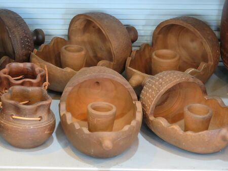 Beautiful earthenware pitchers of mud ready to cool water