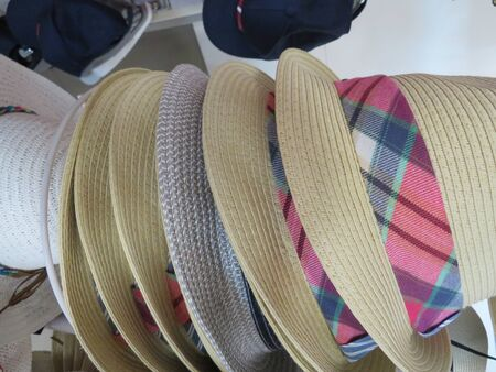 Beautiful straw hats to cover from the sun 写真素材