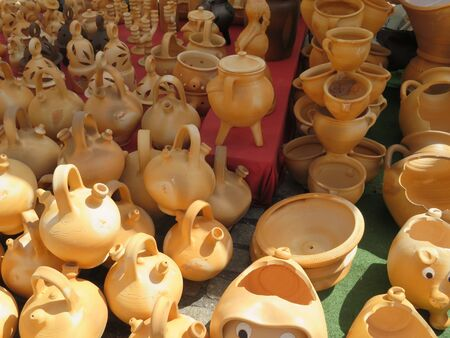 Beautiful kitchen utensils made of clay by hand by expert hands