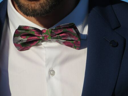 Beautiful bow tie of a knight of intense colors and very discreet