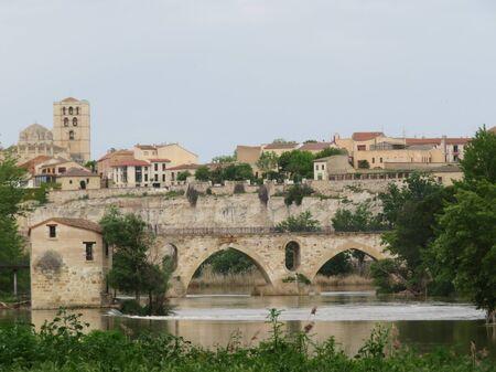 Cathedral bridge river beautiful city Spain horizon monuments