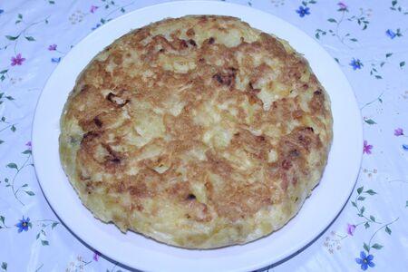 Potato omelet Spanish onion salt egg cooking delicious