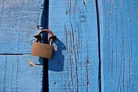 Locker on blue door photo