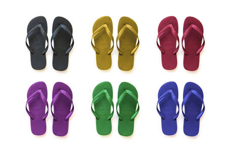 informal clothes: Collection of colored sandals