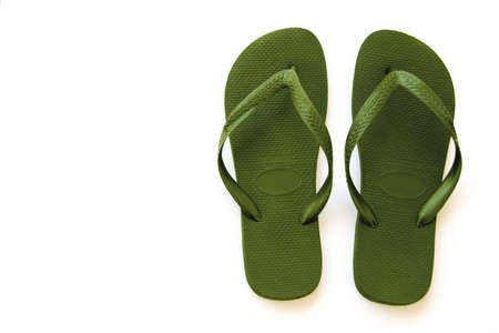 Green beach sandals Stock Photo