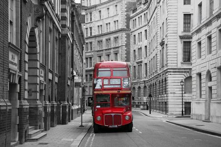 english bus: London red bus desaturated