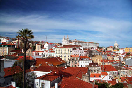 Lisbon panorama from old neighberhood with colorful houses
