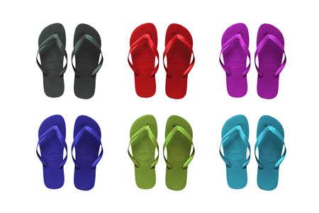 Set of six colored flip-flop beach sandals photo