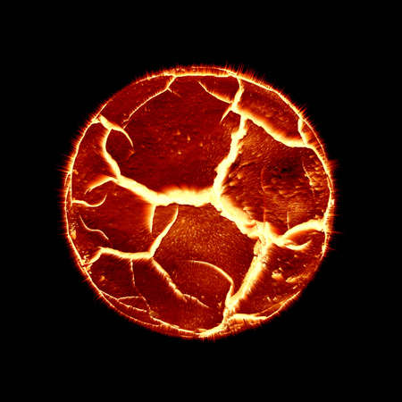 ilustration: ilustration of Planet in flamering heat about to explode Stock Photo