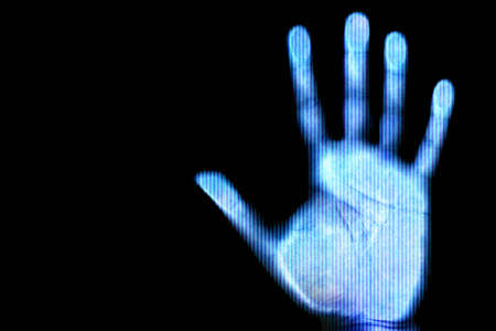 protection concept: Blue scanned hand - future and internet protection concept