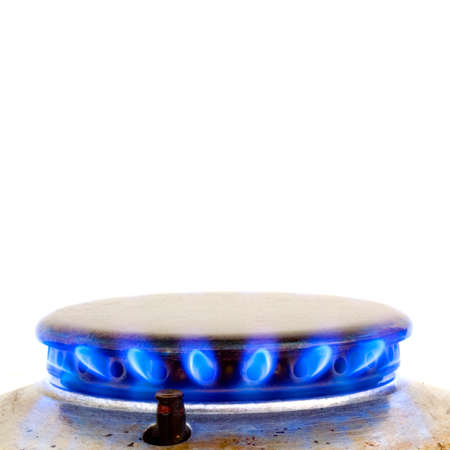 gas cooker: kitchen oven burning gas isolated on white Stock Photo