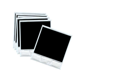 white polaroids: Group of blank photos isolated on white background