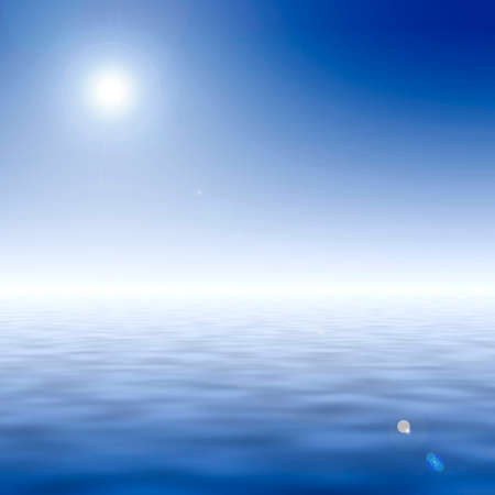 light reflex: background with blue sky and clean blue water - overexposition and flares are intencional