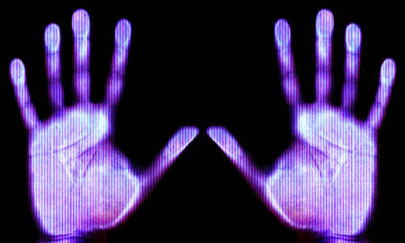 Blue scanned hand - future and internet protection concept Stock Photo - 1423907