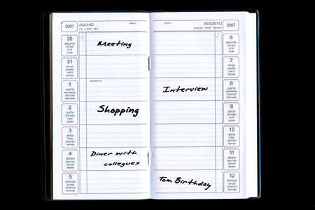 sorted: agenda with tasks and activities sorted by date Stock Photo