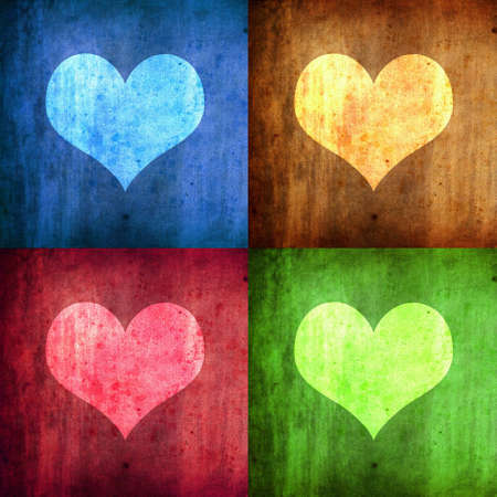 illustration with four hearts with diferent colors