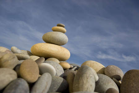 pile of round peebles - zen and spa concept photo