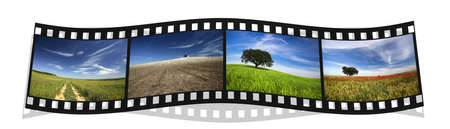 holiday movies: filmstrip with four colorful landscape photography of Portugal Stock Photo