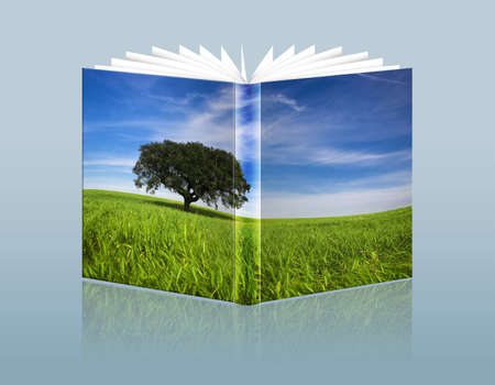 illustration of travel guide with landscape in the hardcover Stock Photo