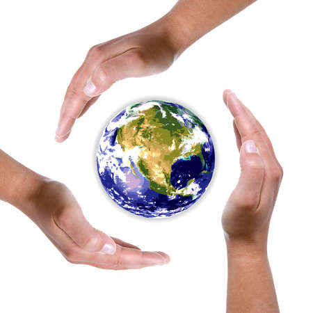 hands around earth globe - nature and environment protection concept