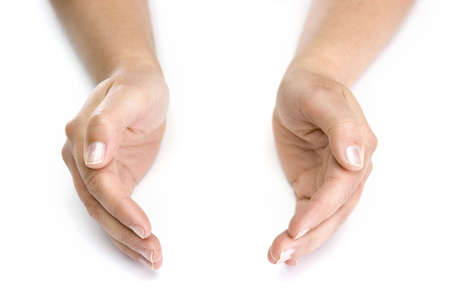 woman hands isolated on white background - good for insert your objects Stock Photo