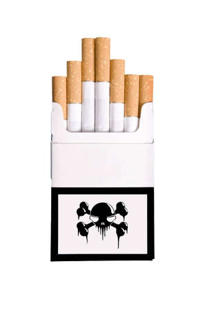 pack of cigars with skull on the box isolated on white background photo