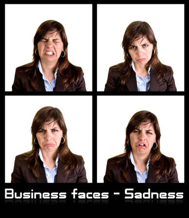 Collection of 4 businesswoman portraits with sad expressions - each photo has 3000px wide Stock Photo - 3123858