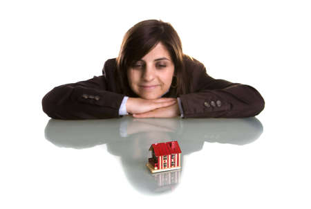 young woman dreaming with new house - real state concept Stock Photo - 3259628