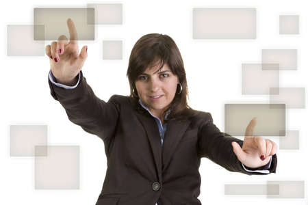 businesswoman pushing two buttons Stock Photo - 3259631