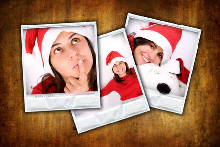set of three photo frames with christmas images over grunge background Stock Photo - 3687829