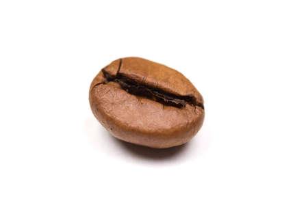 Single Coffee bean isolated on white background. landscape orientation. photo