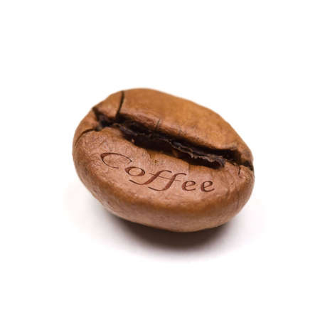 single coffee bean isolated on white background. square format. photo