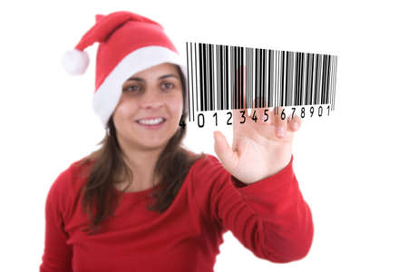 santa woman making online christmas shopping pressing barcode on screen. isolated on white background. photo