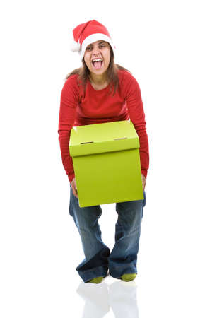 santa woman holding heavy present box isolated on white background photo