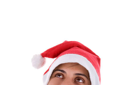 Christmas Santa Woman looking up isolated on white background Stock Photo - 3876363