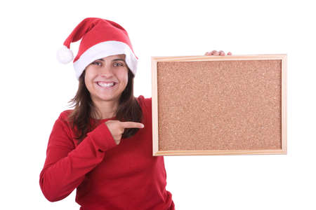 beautiful santa woman holding frame in the hand. isolated on white background. photo