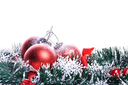 Christmas background with red balls and green ribbon. landscape background. photo