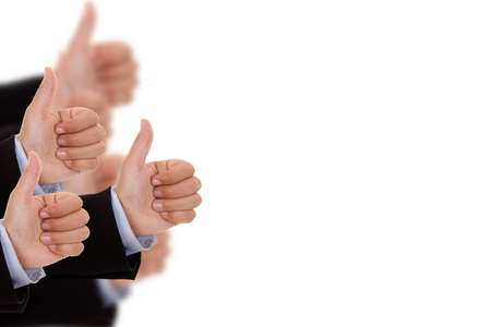multiples: multiples hands with thumbs up isolated on white background