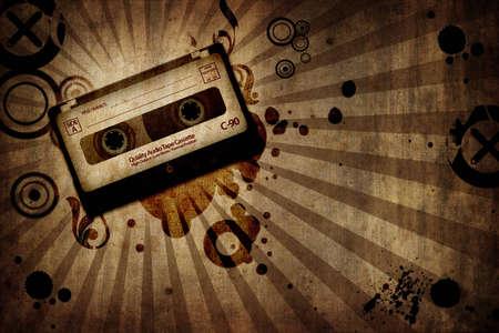 stilish: grunge texture background with music cassete - landscape orientation Stock Photo