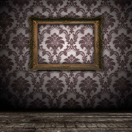 bacground: vintage grunge wall bacground with empty gold paiting frame - square format