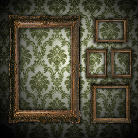 vintage grunge wall bacground with empty gold paiting frame - square format